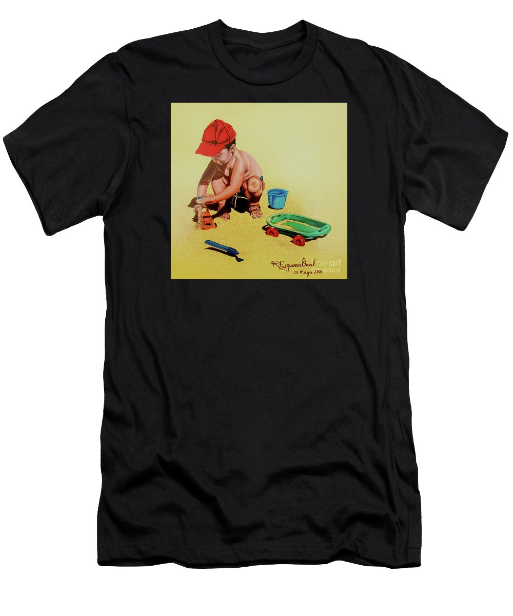 Beach Men's T-Shirt (Athletic Fit) featuring the painting Game At The Beach - Juego En La Playa by Rezzan Erguvan-Onal