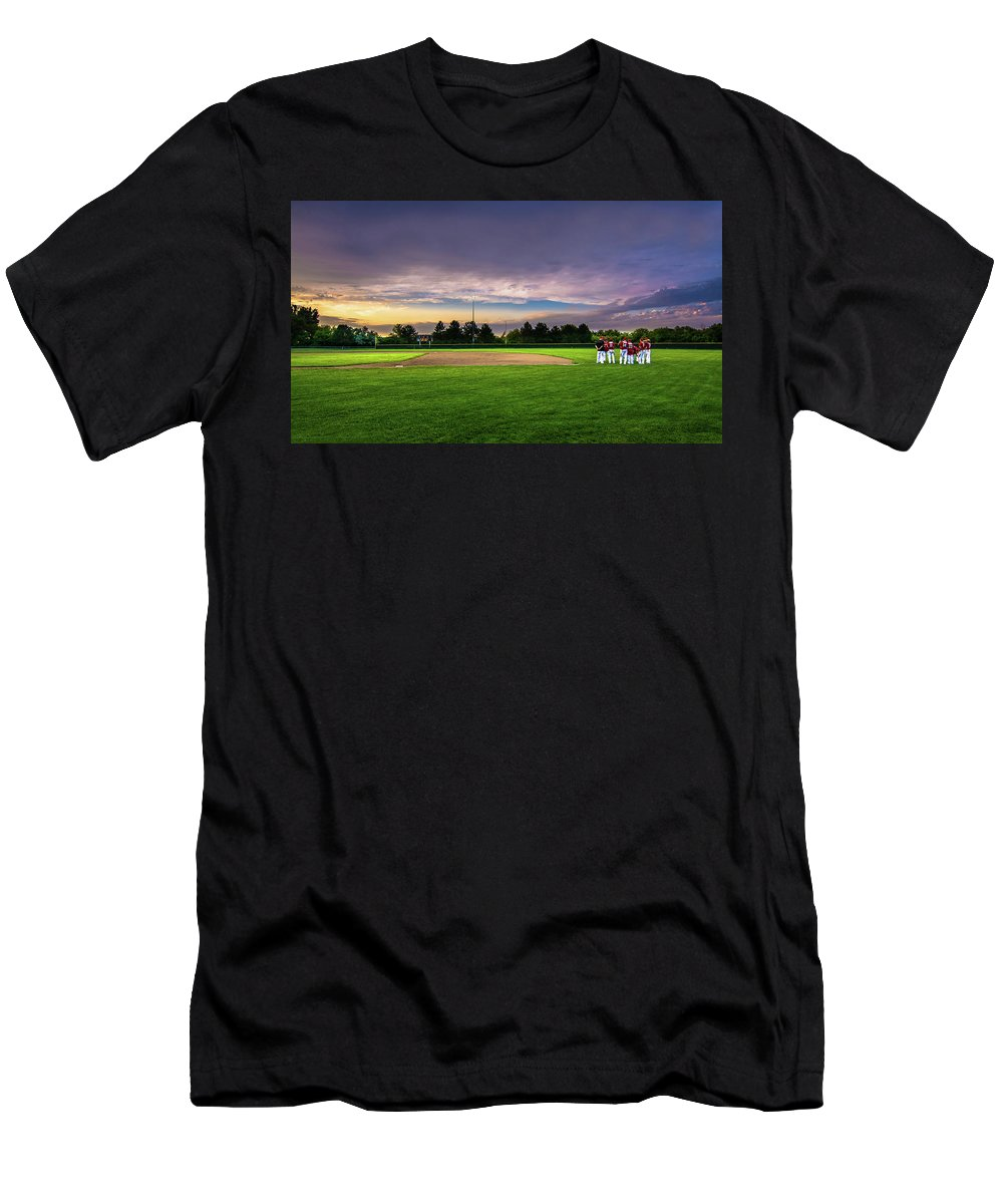 Baseball Hampton Bulldogs Iowa Senior Sunset Franklin Co Nate Varsity Men's T-Shirt (Athletic Fit) featuring the photograph Game Over by Bob White