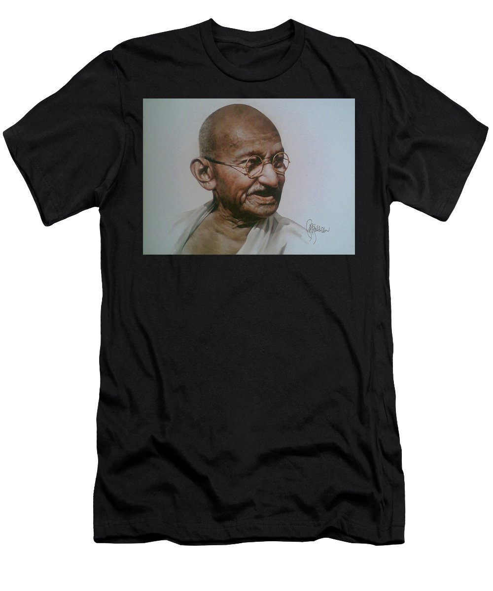 Figurative Men's T-Shirt (Athletic Fit) featuring the painting Gandhiji by Rajasekharan Parameswaran