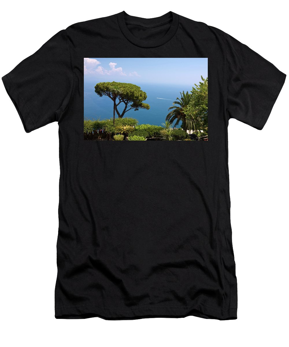 Garden Overlooking Bay Of Naples Men's T-Shirt (Athletic Fit) featuring the photograph Garden And Bay Of Naples by Sally Weigand