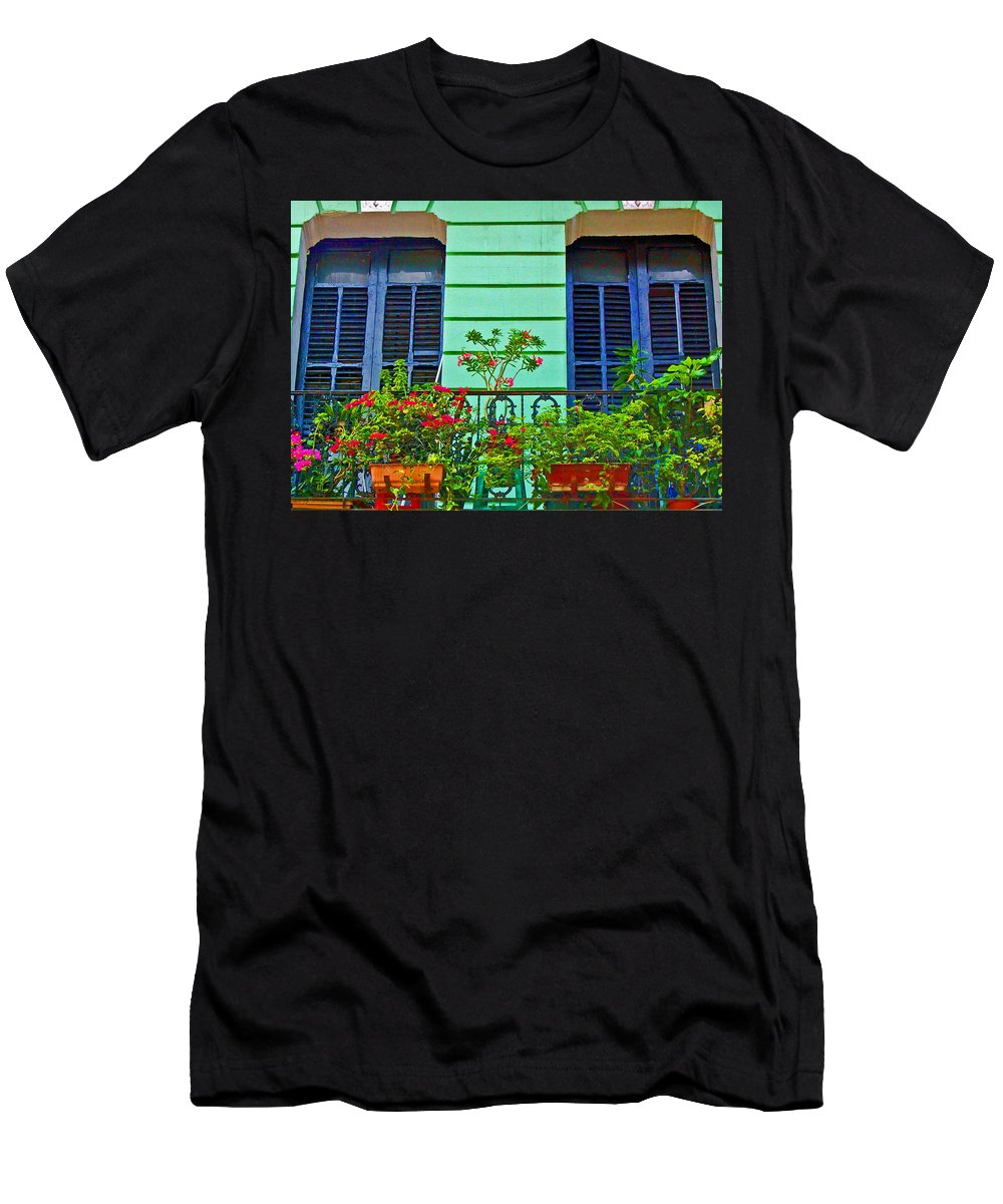 Garden Men's T-Shirt (Athletic Fit) featuring the photograph Garden Balcony by Debbi Granruth