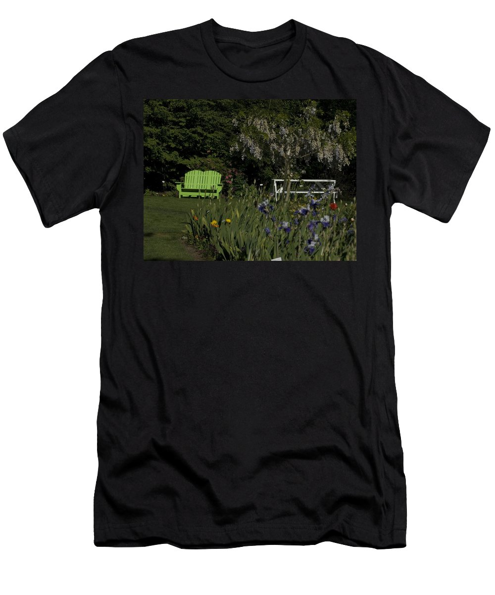 Garden Men's T-Shirt (Athletic Fit) featuring the photograph Garden Bench Green by Sara Stevenson