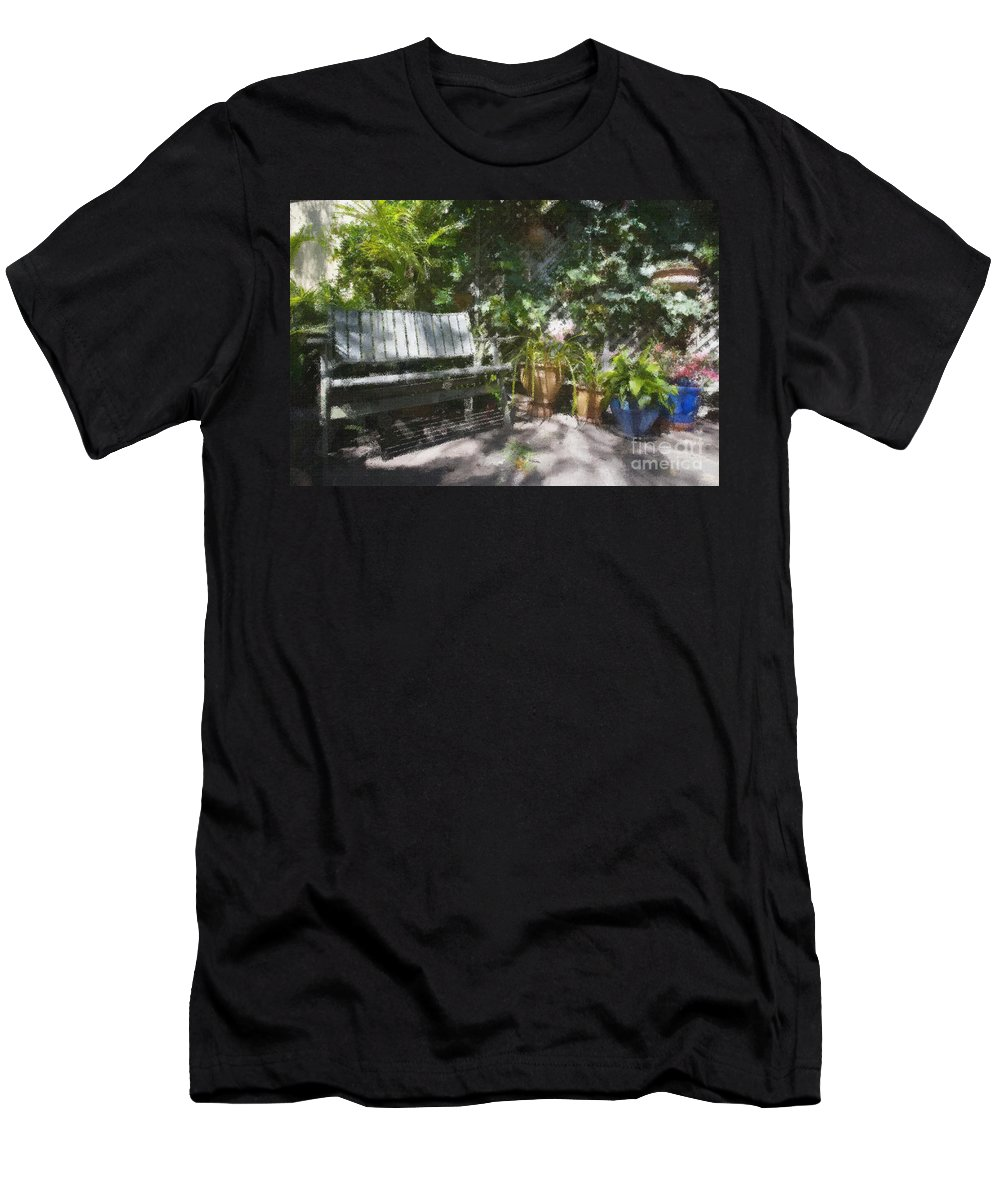 Garden Bench Flowers Impressionism Men's T-Shirt (Athletic Fit) featuring the photograph Garden Bench by Sheila Smart Fine Art Photography