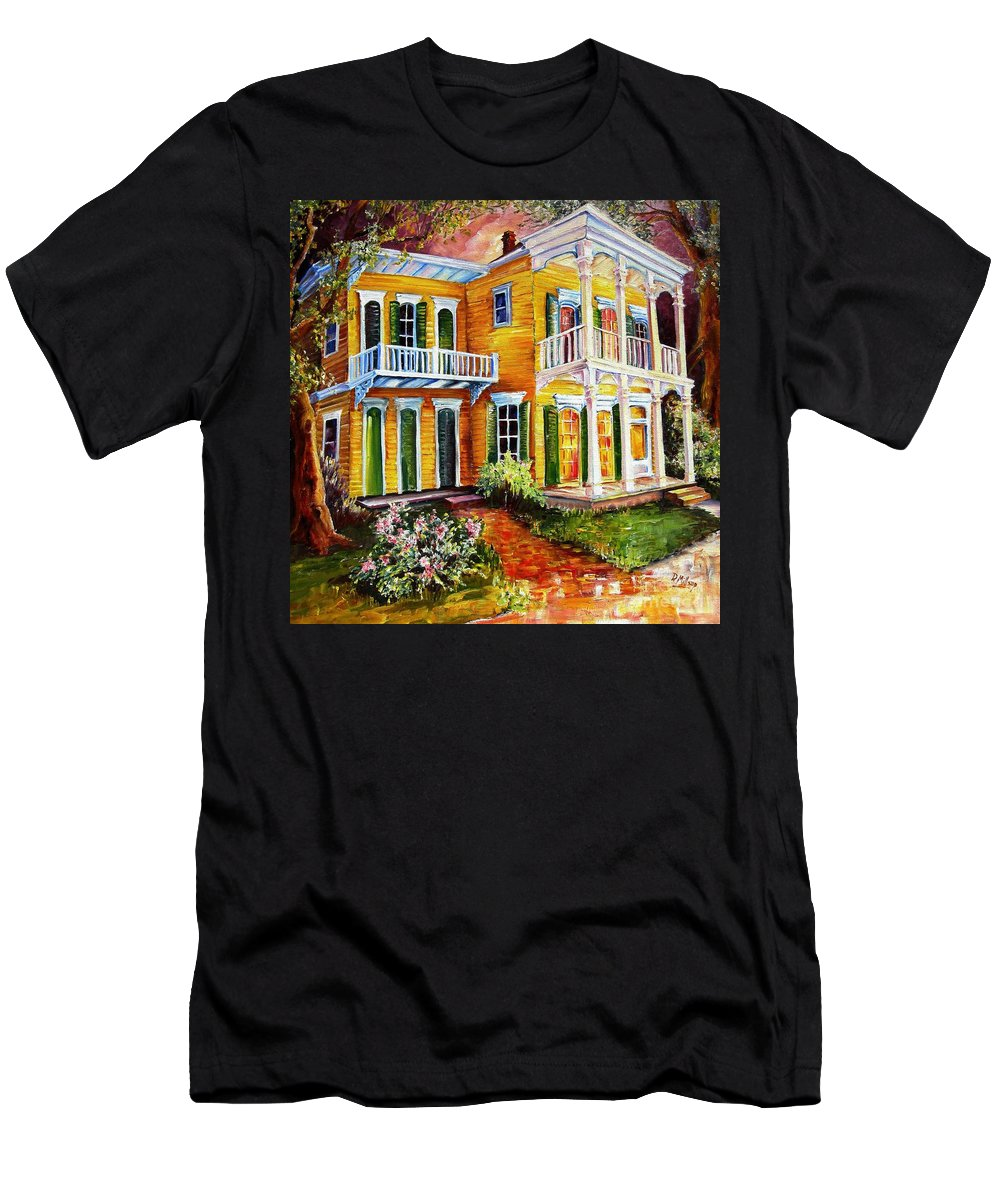 New Orleans Paintings Men's T-Shirt (Athletic Fit) featuring the painting Garden District Home by Diane Millsap