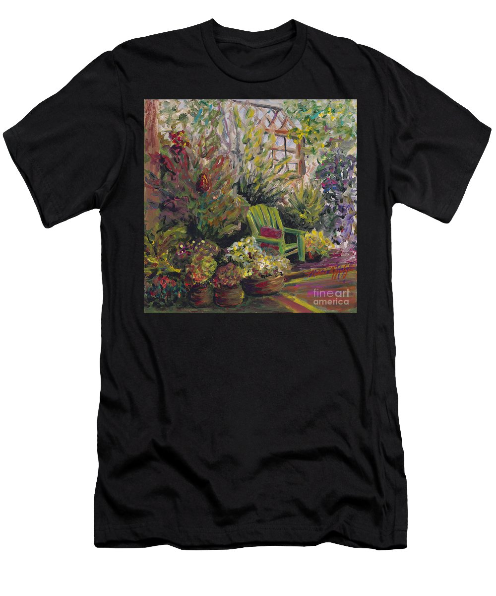 Green Men's T-Shirt (Athletic Fit) featuring the painting Garden Escape by Nadine Rippelmeyer