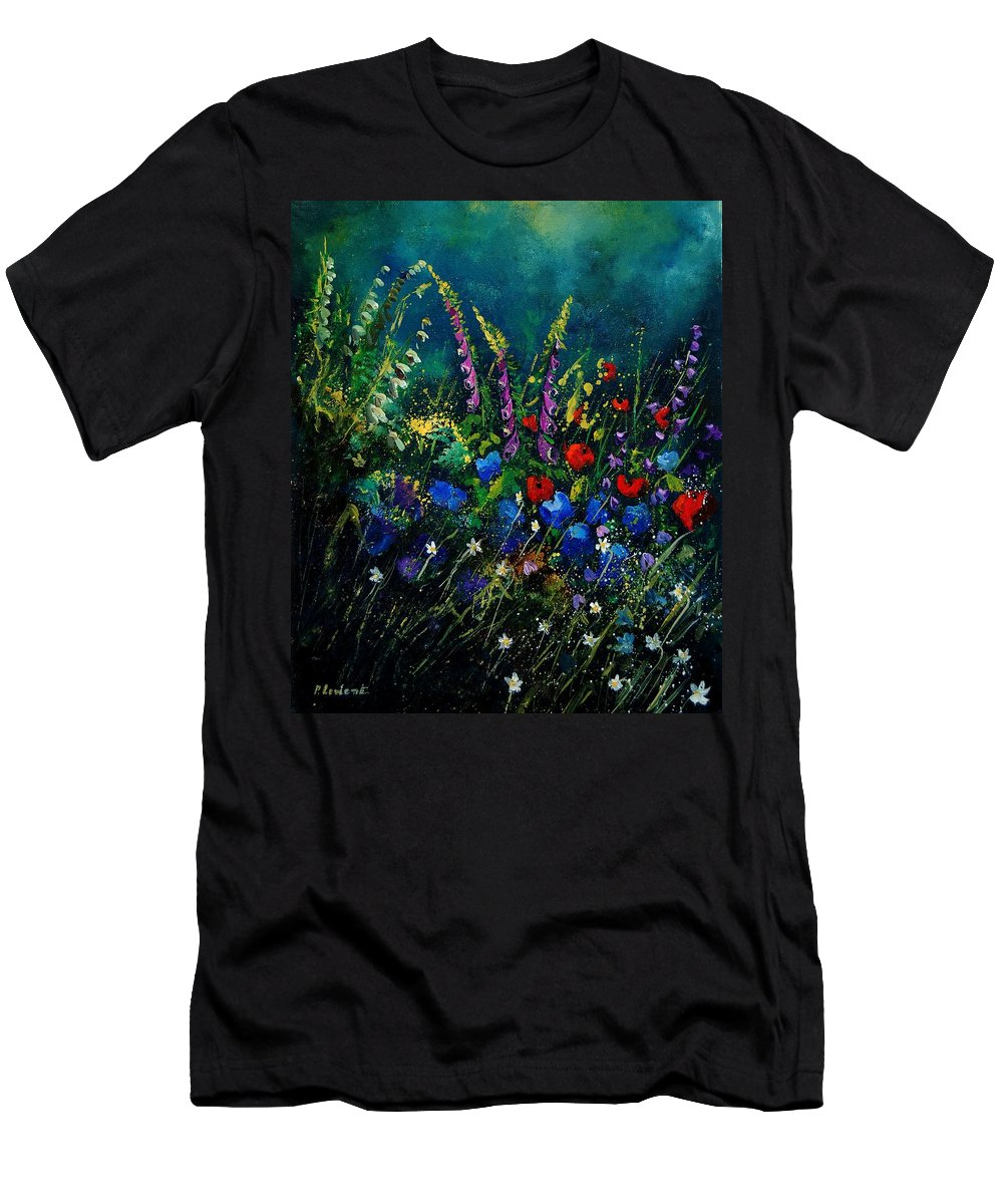 Flowers Men's T-Shirt (Athletic Fit) featuring the painting Garden Flowers 56 by Pol Ledent