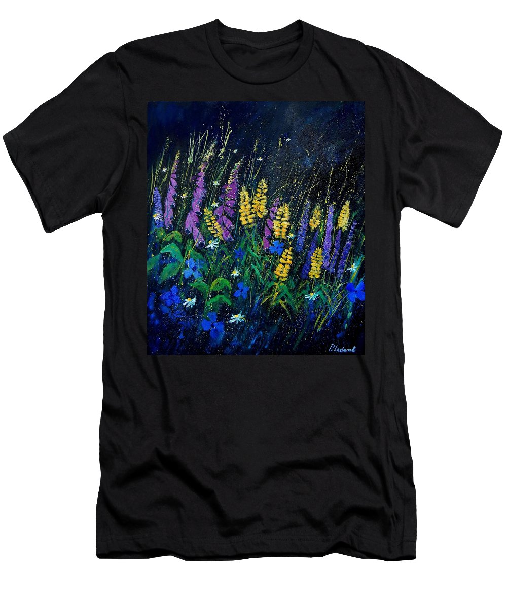 Flowers Men's T-Shirt (Athletic Fit) featuring the painting Garden Flowers 679080 by Pol Ledent