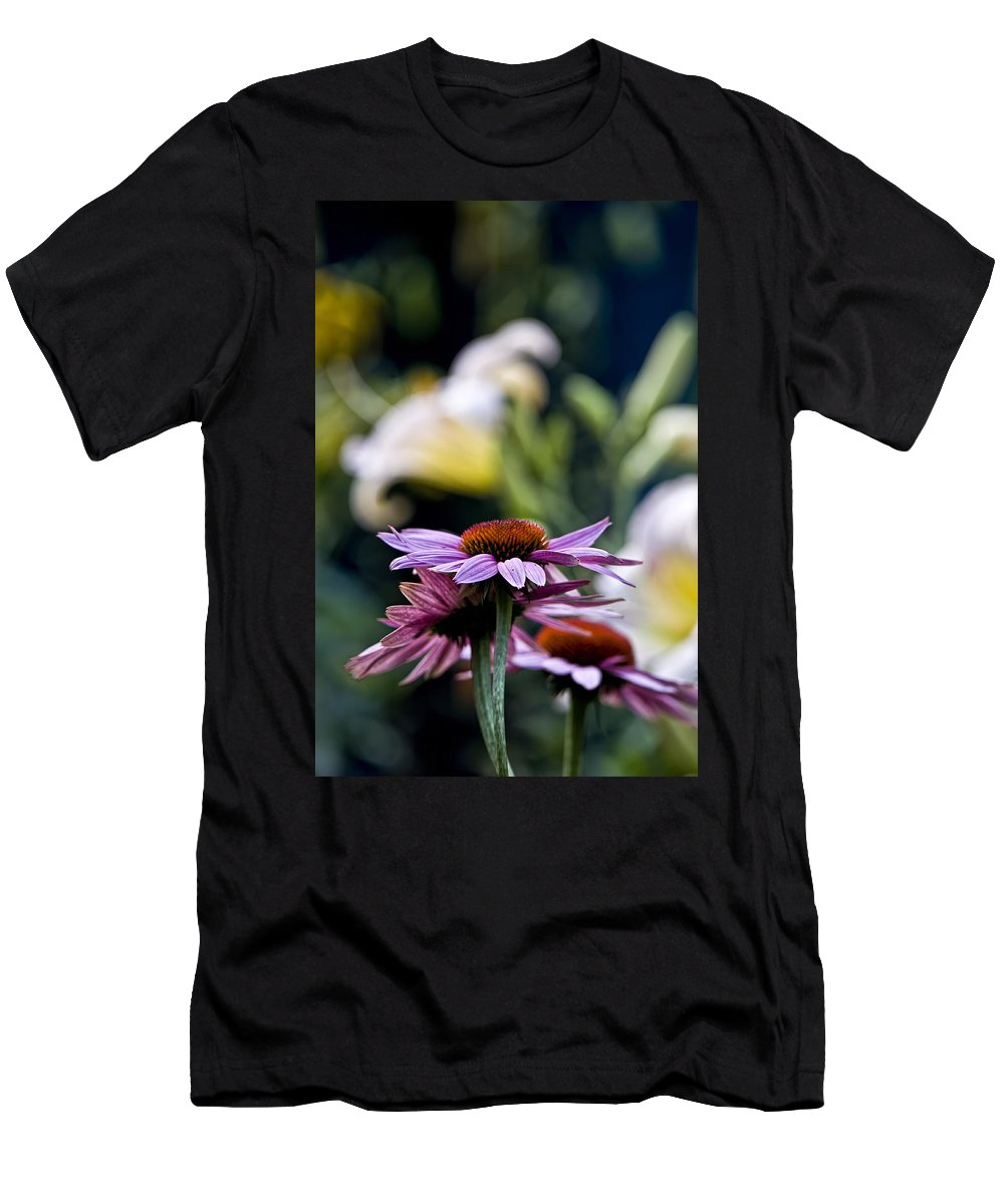 Echinacea Men's T-Shirt (Athletic Fit) featuring the photograph Garden Flowers by Michael Cummings