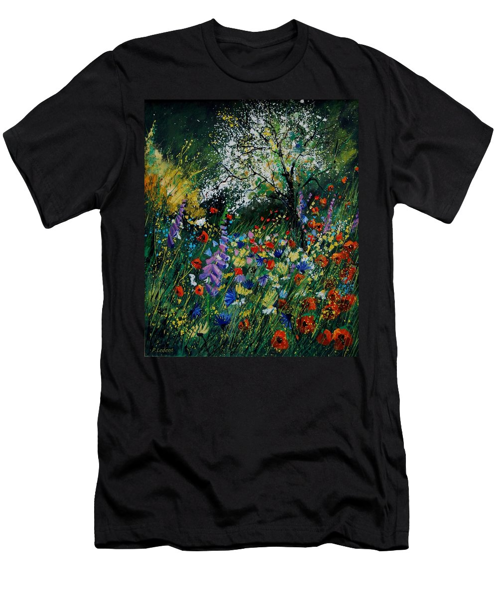 Flowers Men's T-Shirt (Athletic Fit) featuring the painting Garden Flowers by Pol Ledent