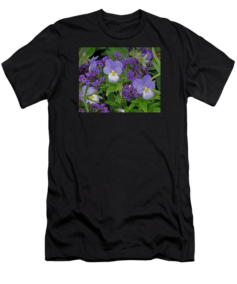 Pansies Men's T-Shirt (Athletic Fit) featuring the photograph Garden Harmony 2 by Lynda Lehmann