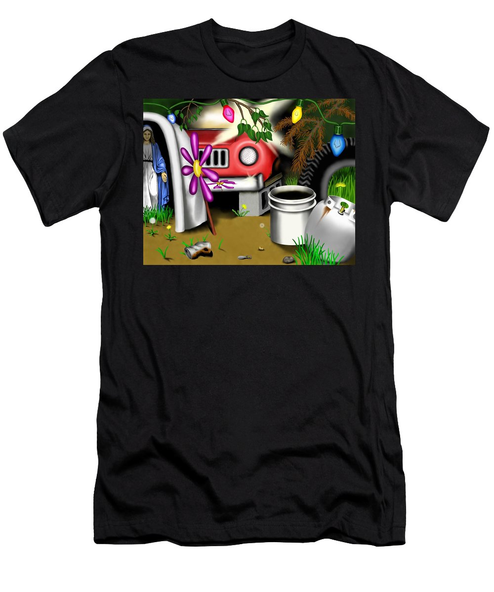 Surrealism T-Shirt featuring the digital art Garden Landscape I - Into The Trailorpark by Robert Morin