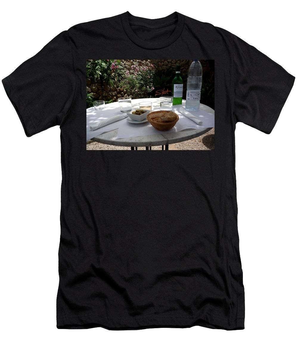 Lunch Men's T-Shirt (Athletic Fit) featuring the photograph Garden Lunch Mallorca by Charles Stuart