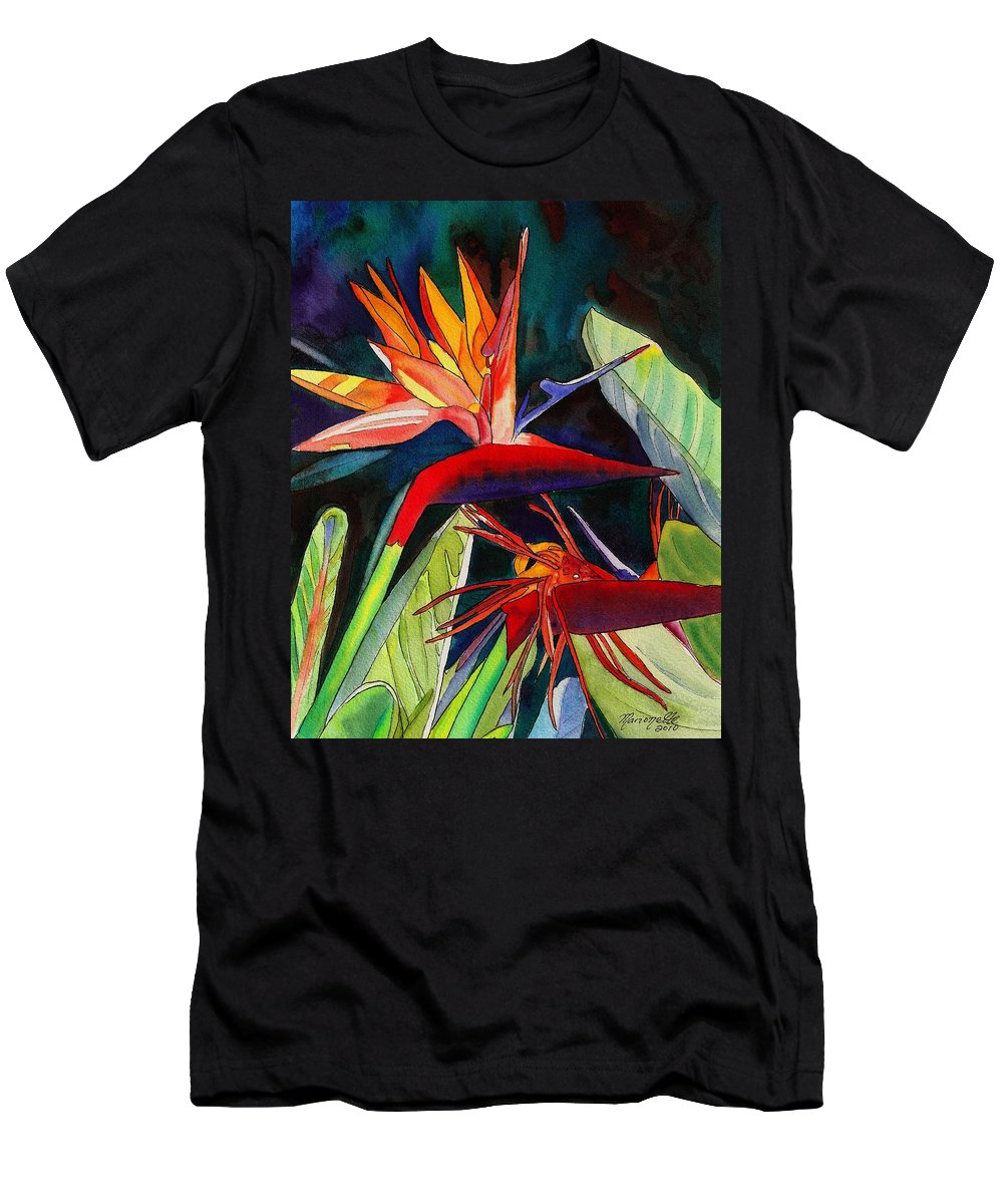 Bird Men's T-Shirt (Athletic Fit) featuring the painting Garden Of Paradise by Marionette Taboniar