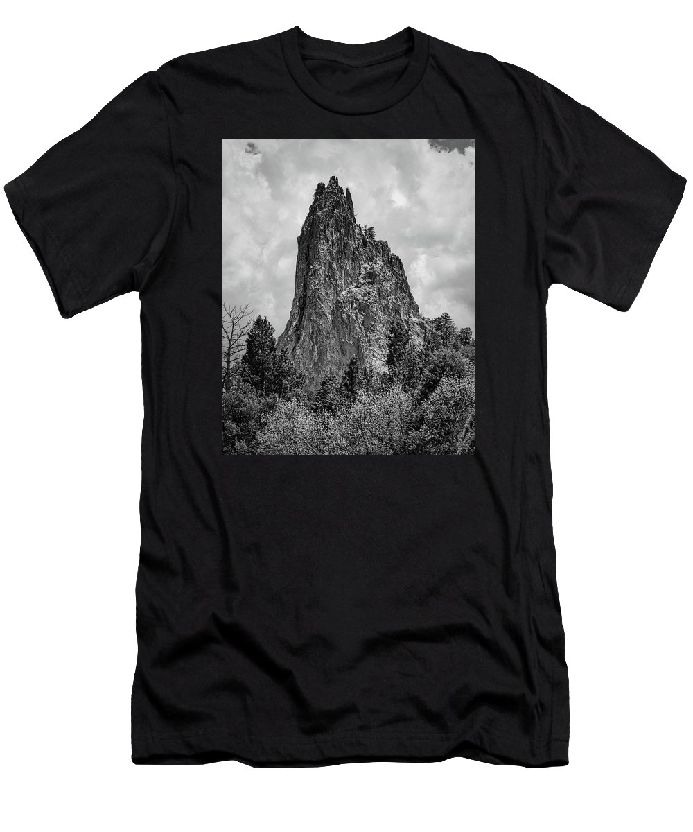 Inspiration Men's T-Shirt (Athletic Fit) featuring the photograph Garden Of The Gods Monotone by Edward Moorhead