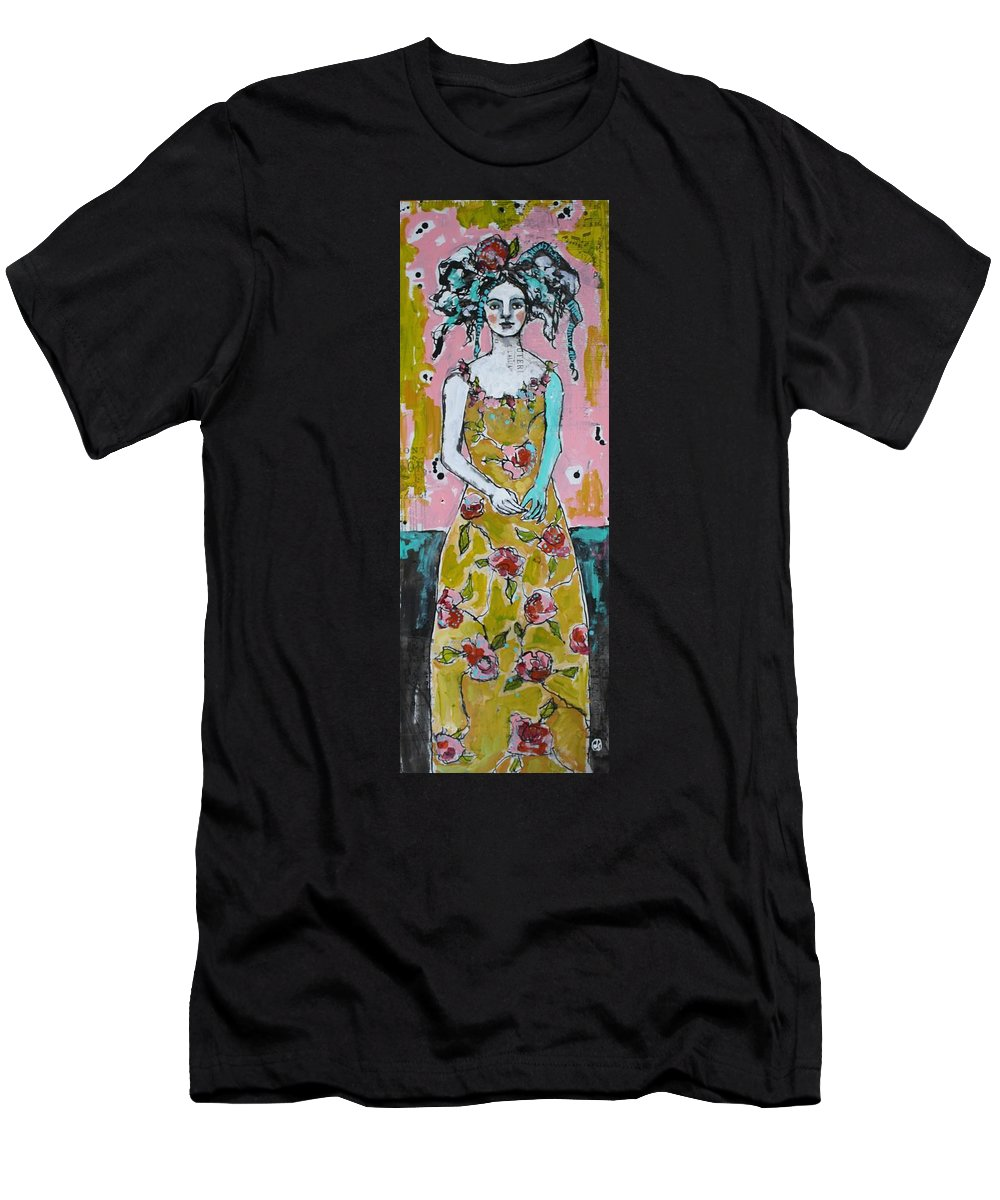 Mixed Media Men's T-Shirt (Athletic Fit) featuring the painting Garden Party by Jane Spakowsky