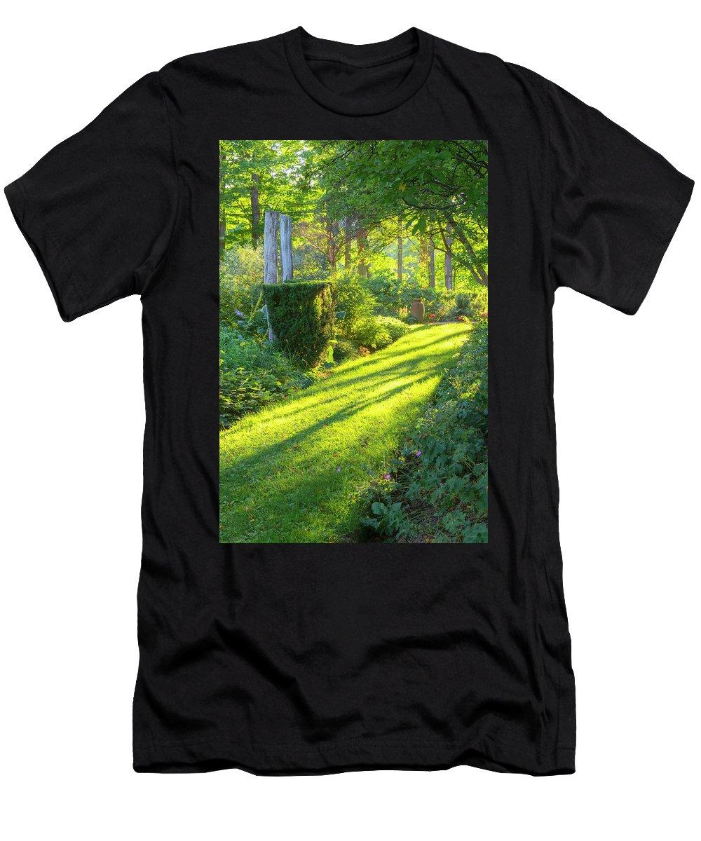 Hayward Garden Putney Vermont Men's T-Shirt (Athletic Fit) featuring the photograph Garden Path by Tom Singleton