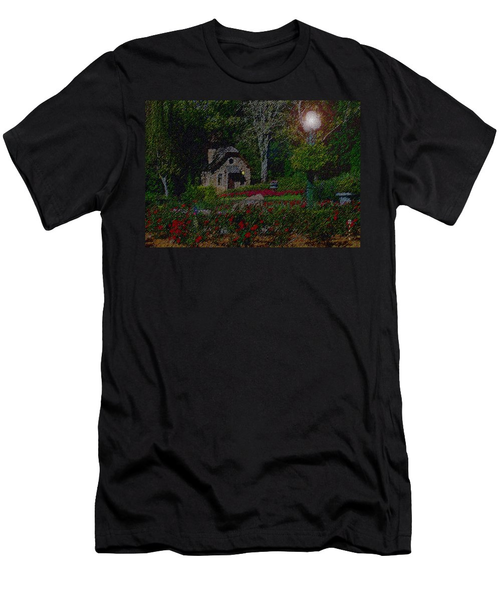 Dusk Men's T-Shirt (Athletic Fit) featuring the mixed media Garden Sleeping by Shirley Heyn