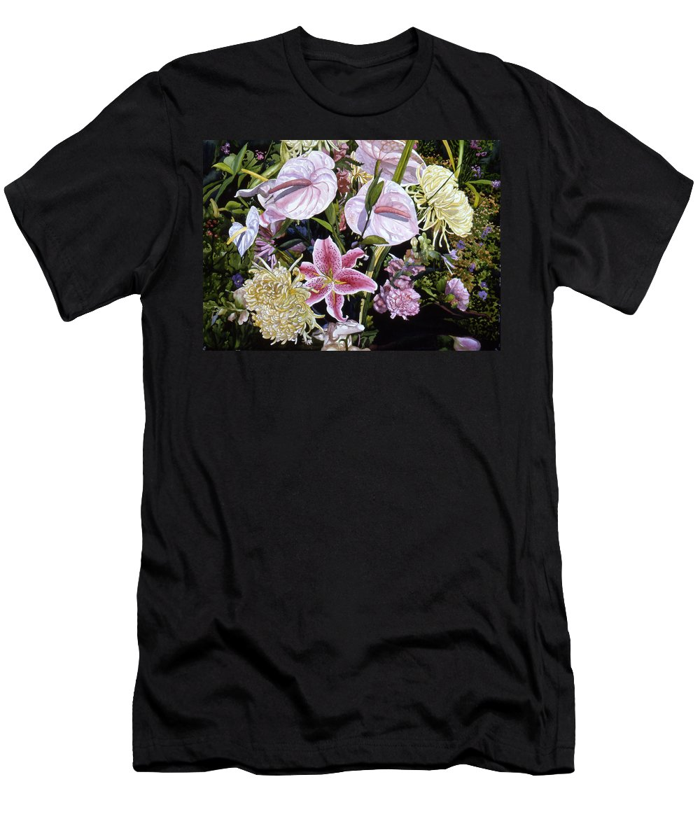 Watercolor Men's T-Shirt (Athletic Fit) featuring the painting Garden Song by Teri Starkweather