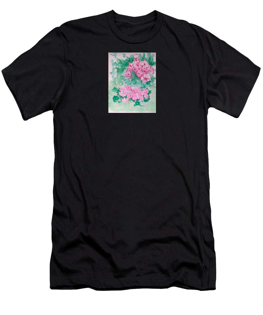 Impressionism T-Shirt featuring the painting Garden With Pink Flowers by J R Seymour
