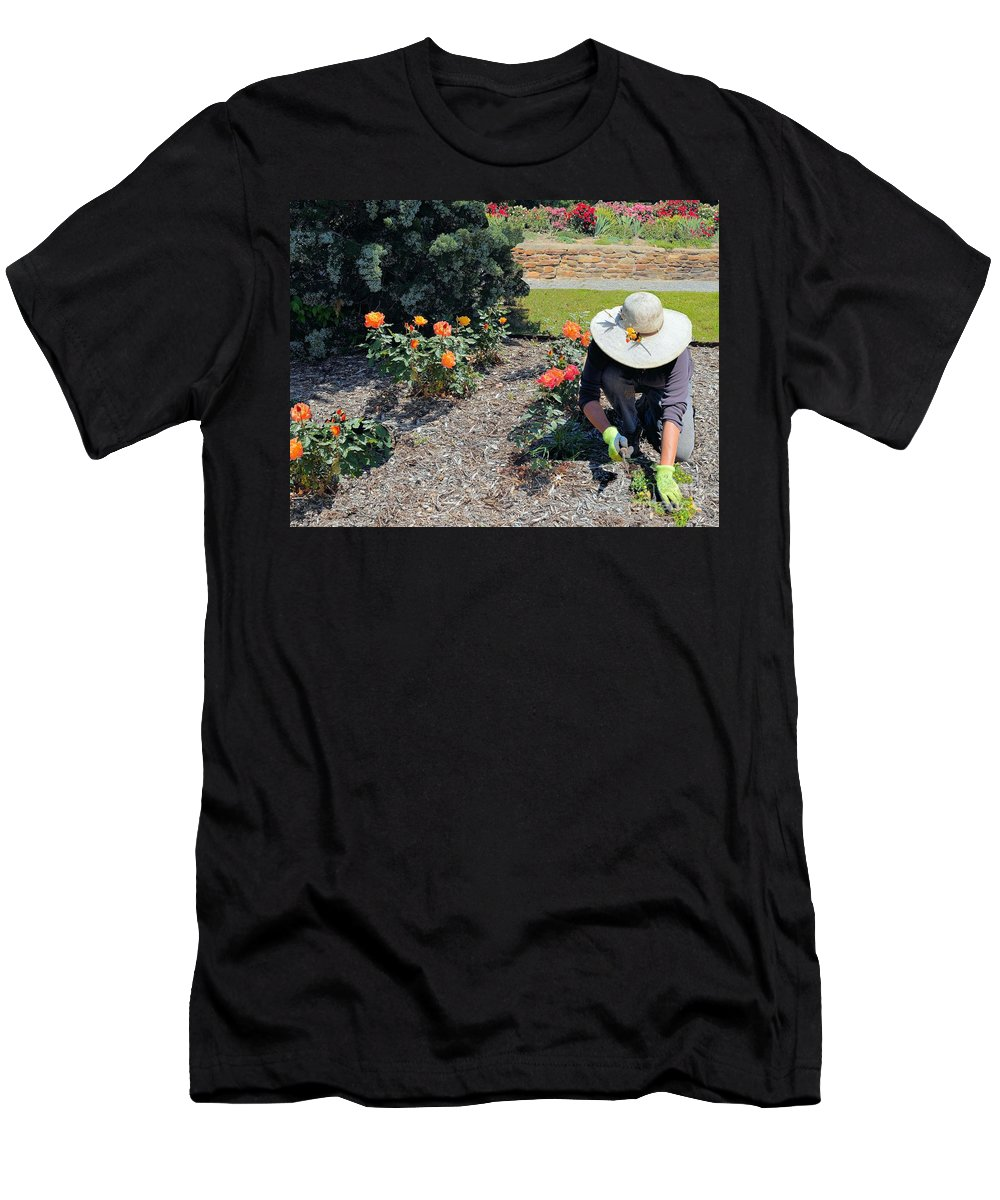 Roses Men's T-Shirt (Athletic Fit) featuring the photograph Gardener Pulling Weeds by Janette Boyd
