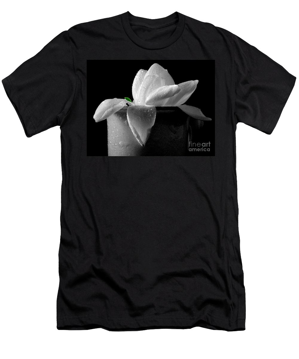 Gardenia Men's T-Shirt (Athletic Fit) featuring the photograph Gardenia In Coffee Cup by Silvia Ganora