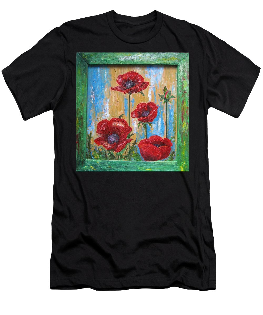 Nature Men's T-Shirt (Athletic Fit) featuring the painting Gardens Poppy by Stella Velka