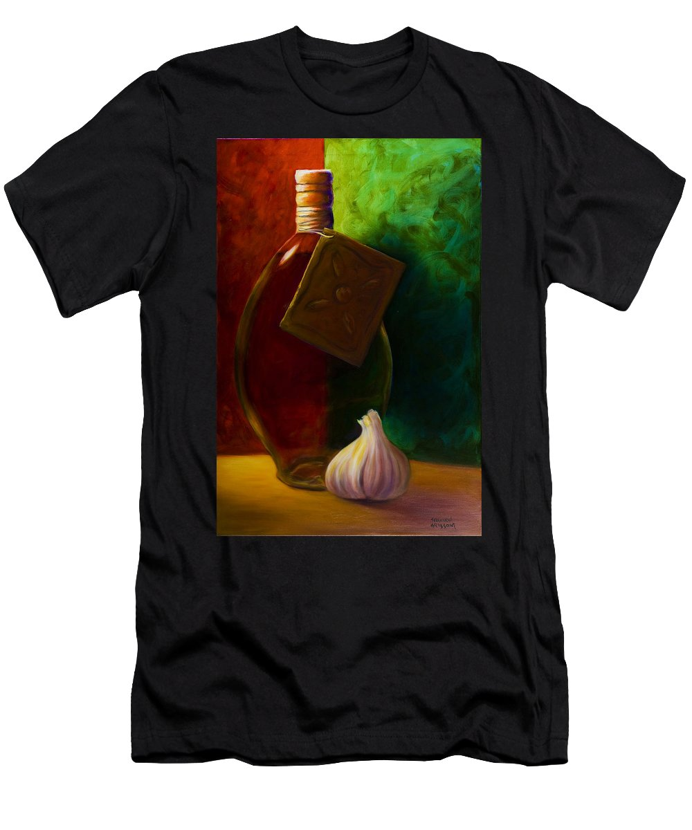 Shannon Grissom T-Shirt featuring the painting Garlic And Oil by Shannon Grissom
