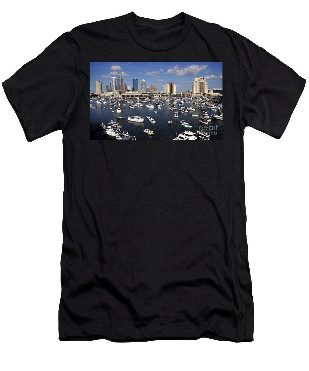 Gasparilla Pirate Festival Men's T-Shirt (Athletic Fit) featuring the photograph Gasparilla Armada by David Lee Thompson