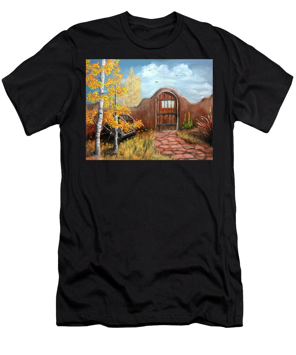 Adobe Men's T-Shirt (Athletic Fit) featuring the painting Gate By The San Juan by Jerry McElroy