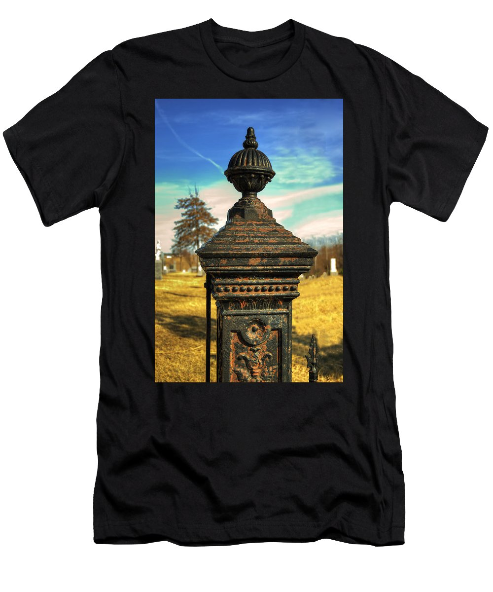 Post Men's T-Shirt (Athletic Fit) featuring the photograph Gate Post by Darin Williams