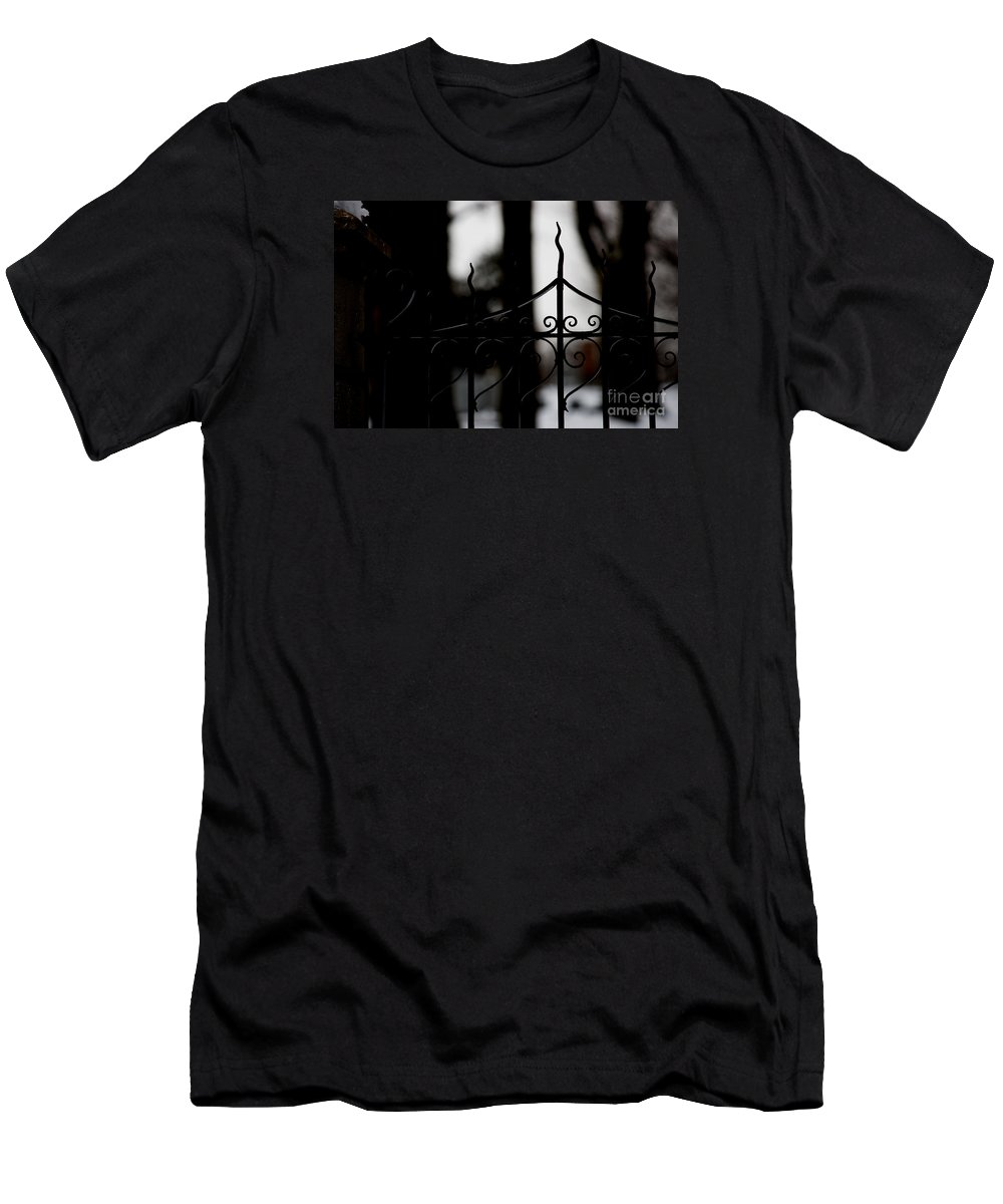 Wrought Iron Men's T-Shirt (Athletic Fit) featuring the photograph Gated Woods by Linda Shafer
