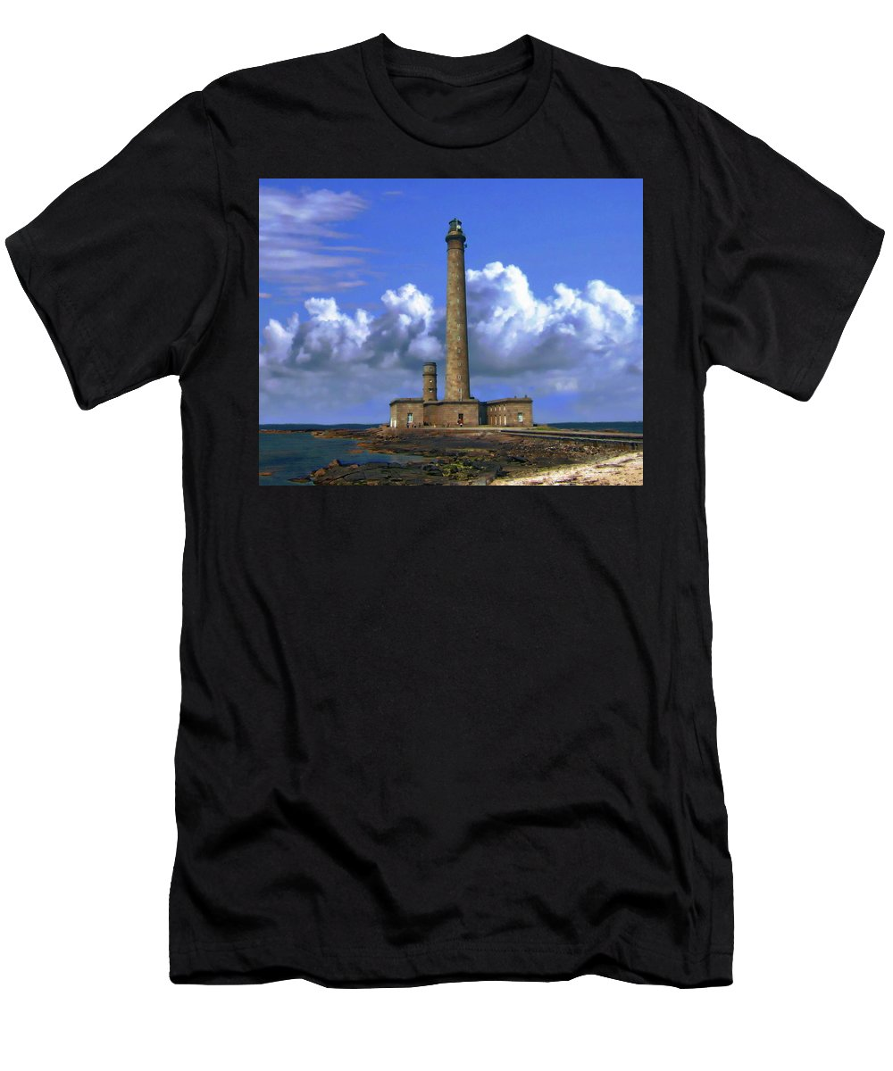 Outdoors Men's T-Shirt (Athletic Fit) featuring the photograph Gatteville Lighthouse by Anthony Dezenzio