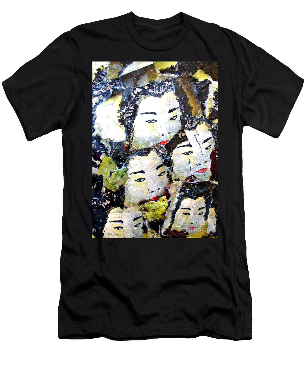Geisha Girls Men's T-Shirt (Athletic Fit) featuring the mixed media Geisha Girls by Shelley Jones