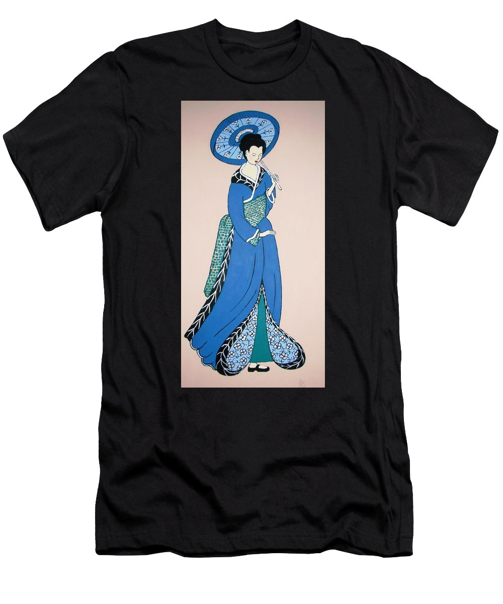 Geisha Men's T-Shirt (Athletic Fit) featuring the painting Geisha With Parasol by Stephanie Moore