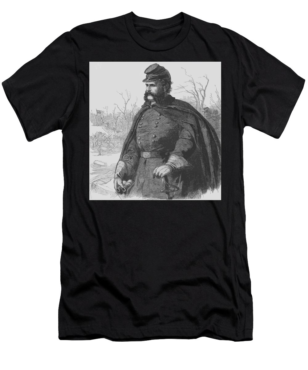Ambrose Burnside Men's T-Shirt (Athletic Fit) featuring the painting General Ambrose Burnside by War Is Hell Store