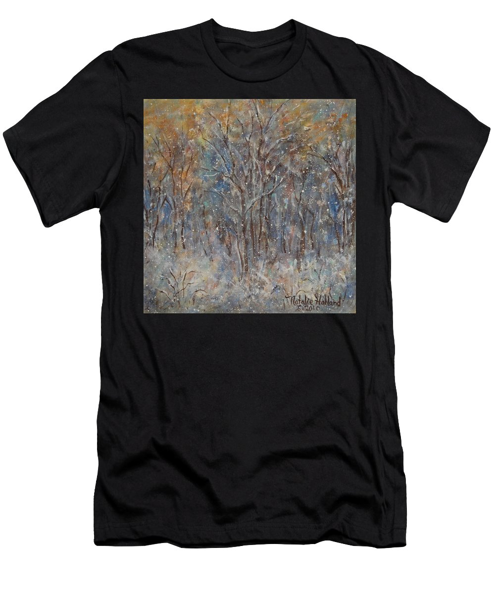 Art Around The World Project Men's T-Shirt (Athletic Fit) featuring the painting Gentle Snow by Natalie Holland
