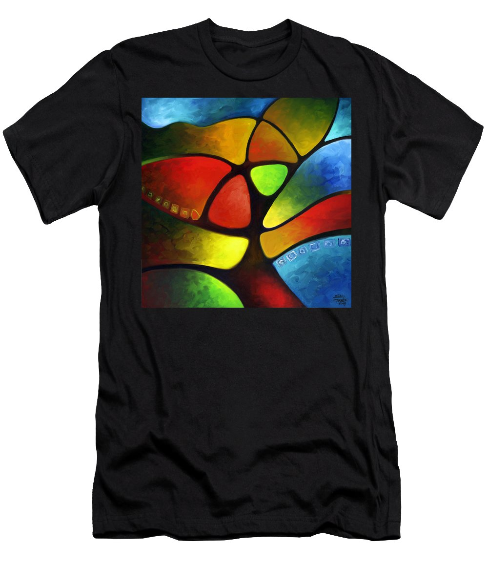 Tree Men's T-Shirt (Athletic Fit) featuring the painting Geometree by Sally Trace