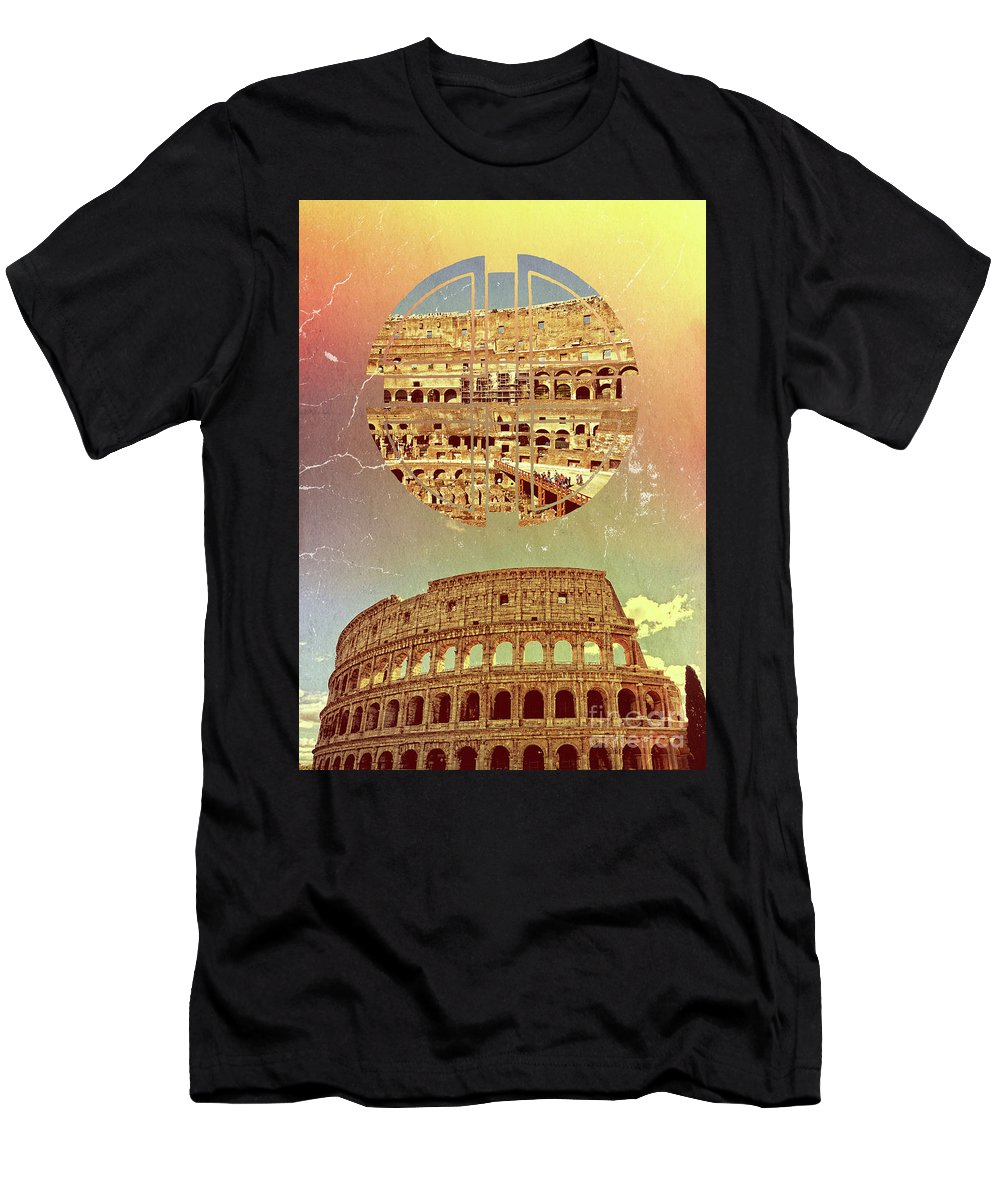 Colosseum Men's T-Shirt (Athletic Fit) featuring the photograph Geometric Colosseum Rome Italy Historical Monument by Beverly Claire Kaiya