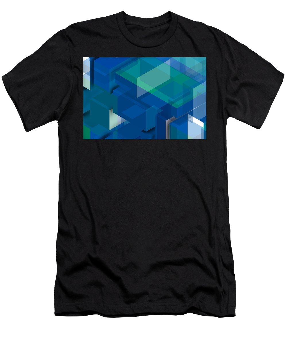 Blue Composition Men's T-Shirt (Athletic Fit) featuring the digital art Geometric Composition by Alberto RuiZ