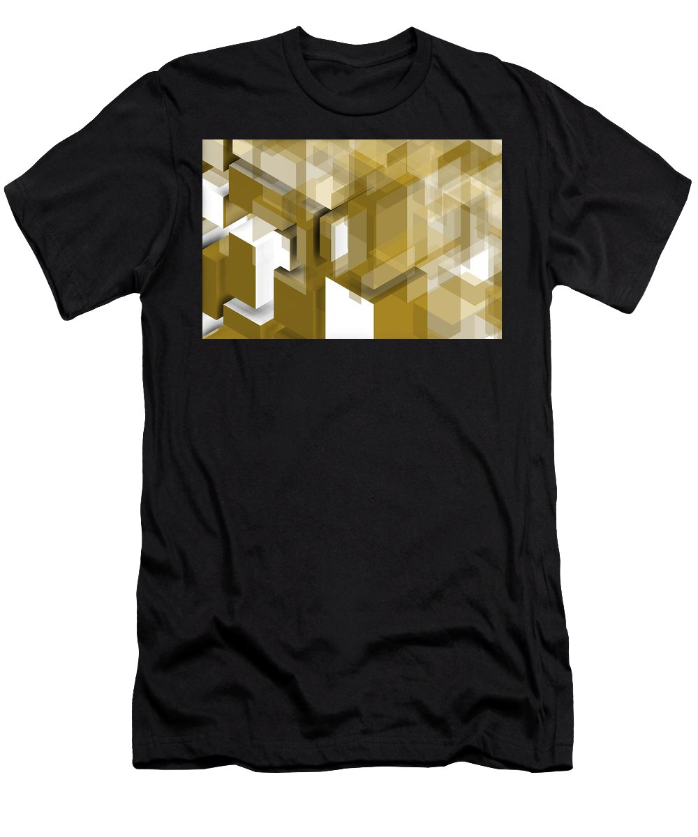 Golden Men's T-Shirt (Athletic Fit) featuring the digital art Geometric Gold Composition by Alberto RuiZ