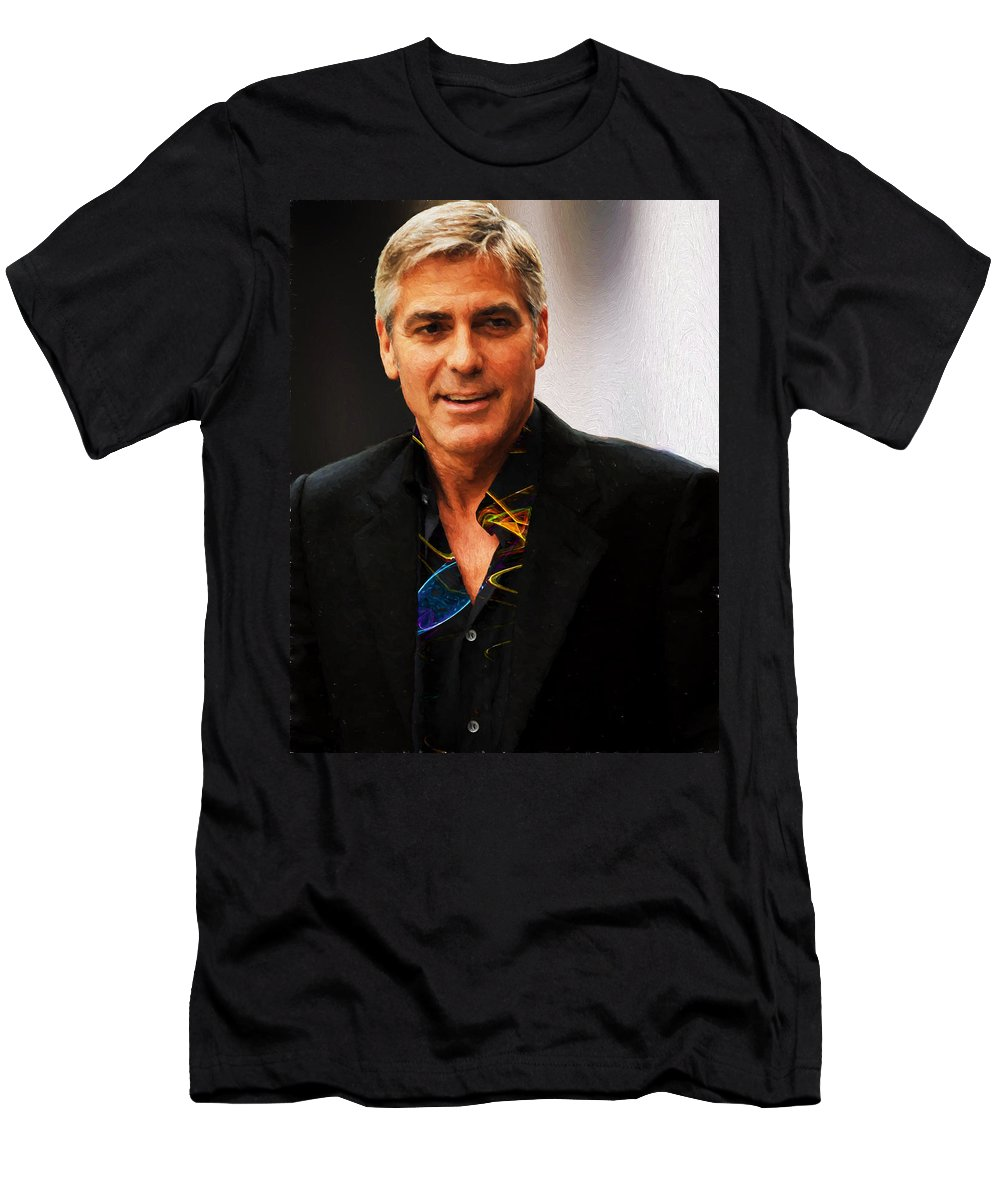 George Clooney Men's T-Shirt (Athletic Fit) featuring the photograph George Clooney Painting by Ericamaxine Price