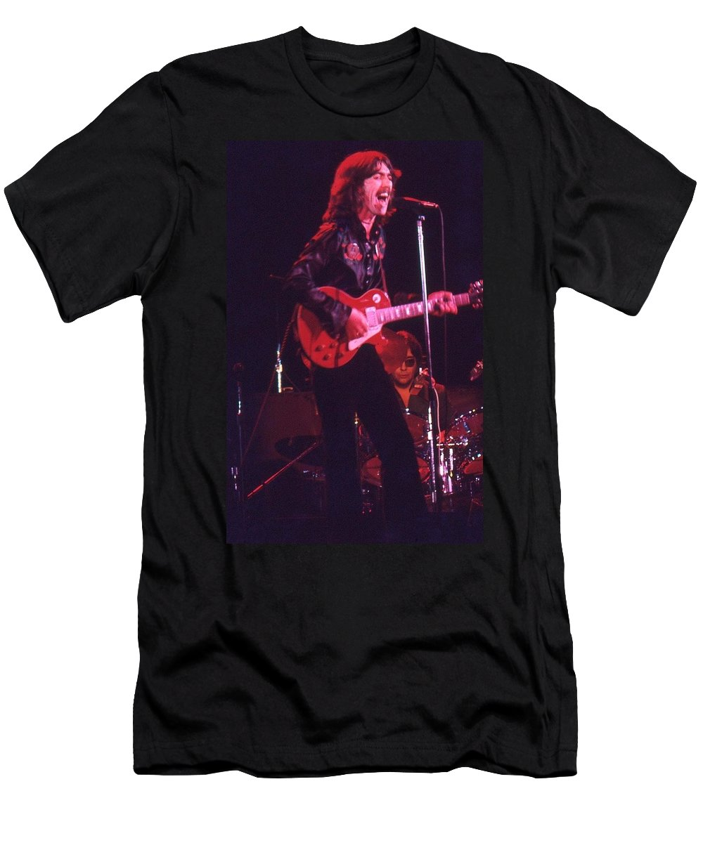 Harrison Men's T-Shirt (Athletic Fit) featuring the photograph George Harrison 1 by Joseph T Farriella