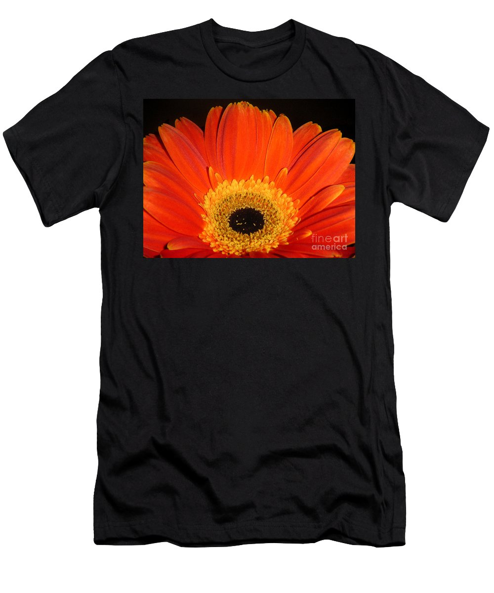 Nature Men's T-Shirt (Athletic Fit) featuring the photograph Gerbera Daisy - Glowing In The Dark by Lucyna A M Green