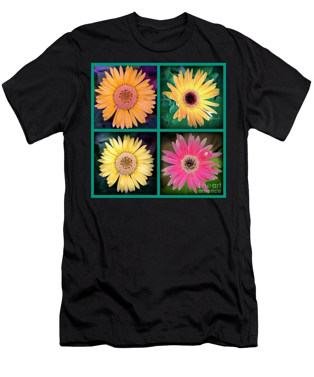 Flower Men's T-Shirt (Athletic Fit) featuring the photograph Gerbera Daisy Collage In Square by Diann Fisher