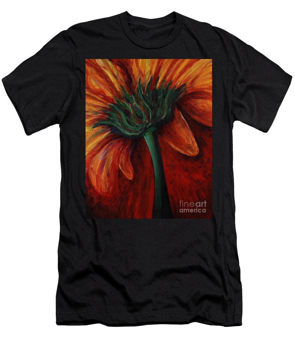 Gerbera Daisy.daisy Men's T-Shirt (Athletic Fit) featuring the painting Gerbera Daisy by Nadine Rippelmeyer