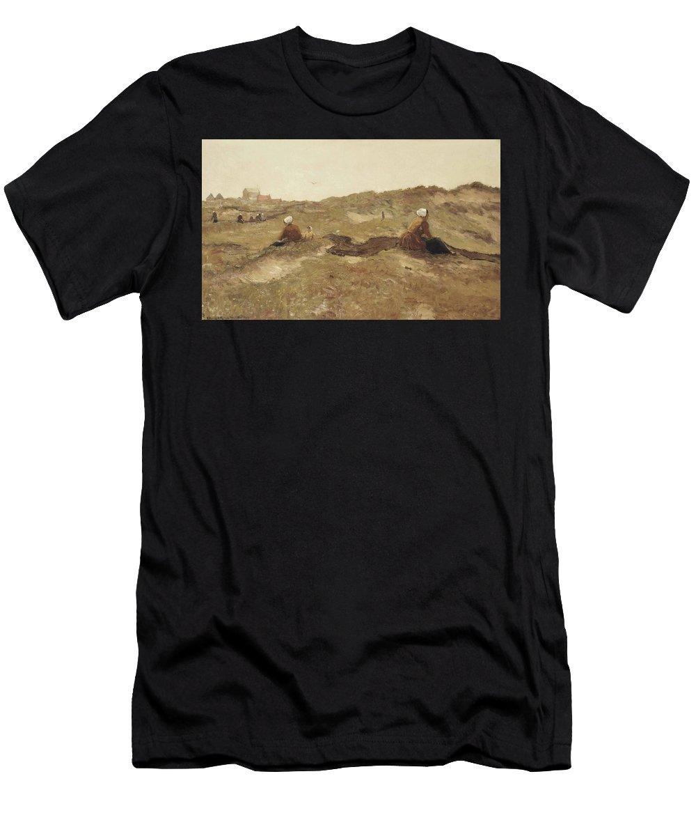 Gerhard Arij Ludwig Morgenstjerne Munthe (1875-1927) Mending The Nets Men's T-Shirt (Athletic Fit) featuring the painting Gerhard Arij Ludwig Morgenstjerne Munthe by MotionAge Designs