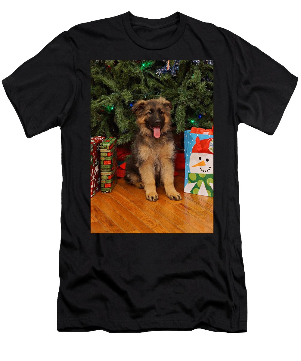 Holiday Card Men's T-Shirt (Athletic Fit) featuring the photograph German Shepherd Puppy Card by Sandy Keeton