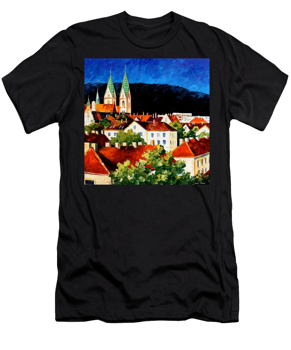 City Men's T-Shirt (Athletic Fit) featuring the painting Germany - Freiburg by Leonid Afremov