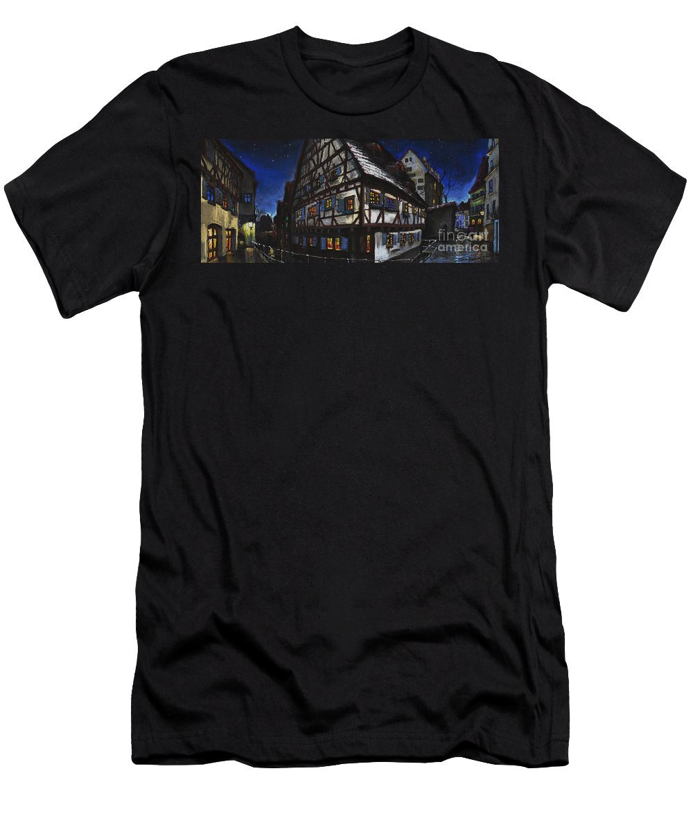 Pastel Men's T-Shirt (Athletic Fit) featuring the painting Germany Ulm Fischer Viertel Schwor-haus by Yuriy Shevchuk