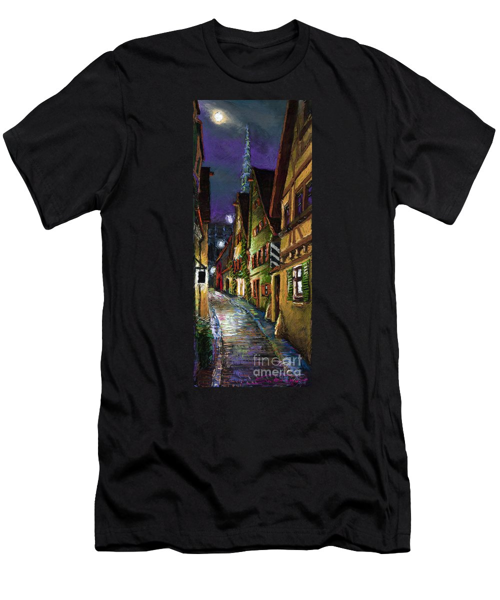 Pastel Men's T-Shirt (Athletic Fit) featuring the painting Germany Ulm Old Street Night Moon by Yuriy Shevchuk